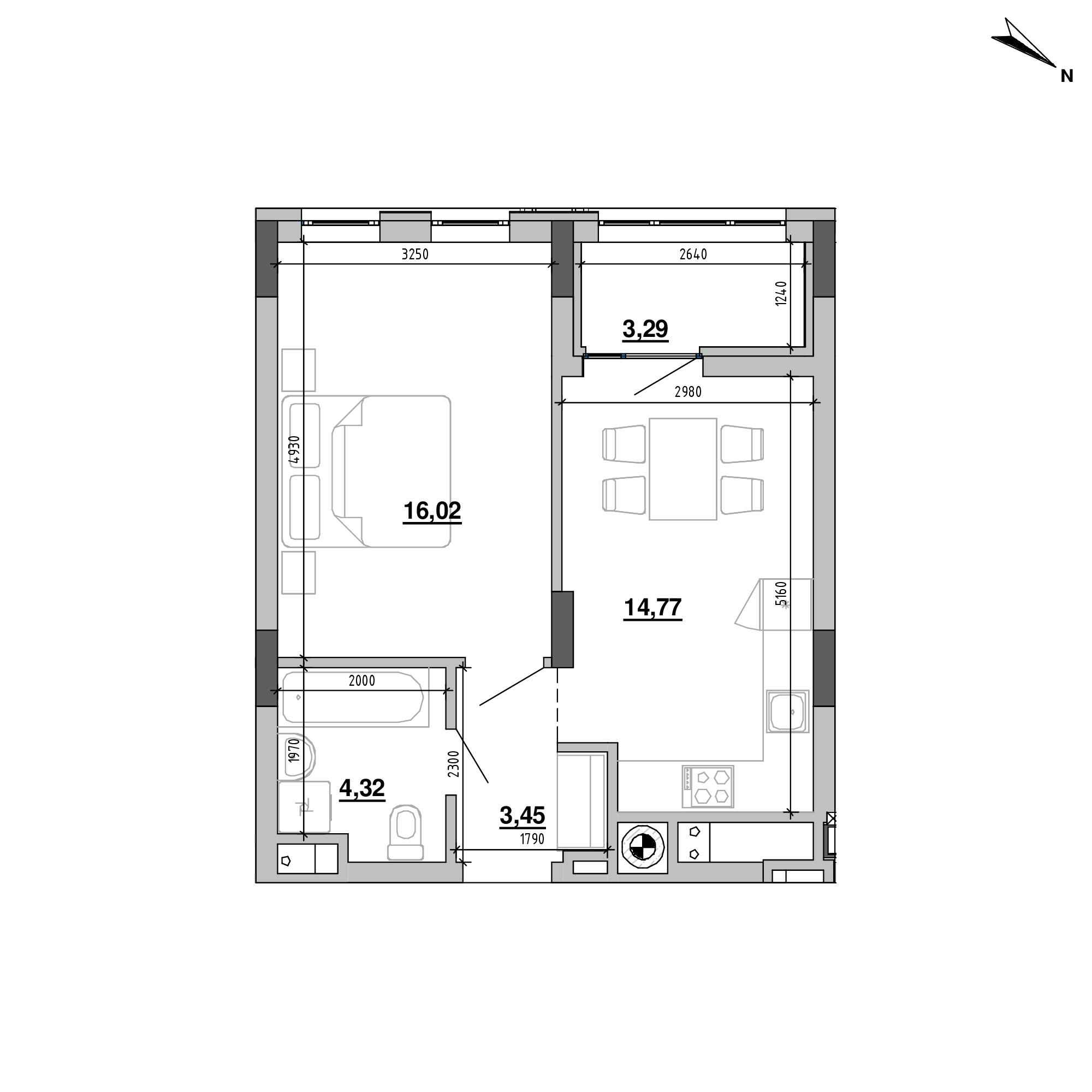 ЖК Підзамче. Вежа: планування 1-кімнатної квартири, №13, 41.85 м<sup>2</sup>