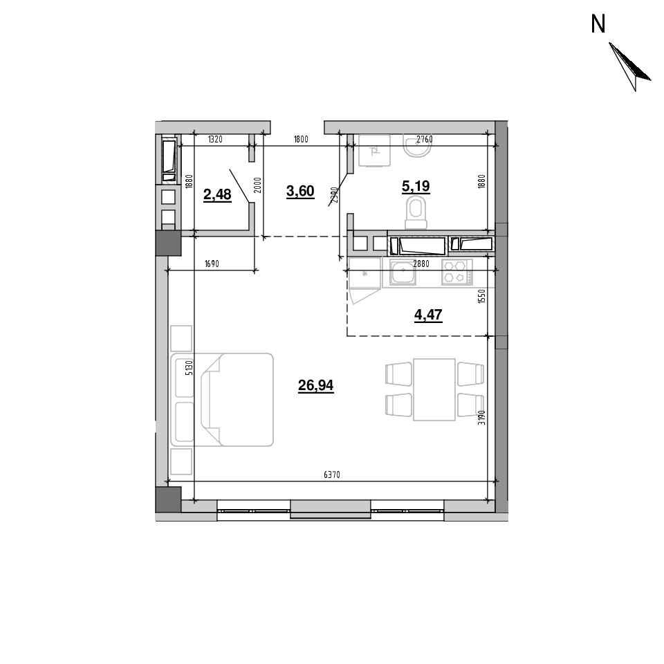 ЖК Підзамче. Вежа: планування 1-кімнатної квартири, №3, 42.68 м<sup>2</sup>