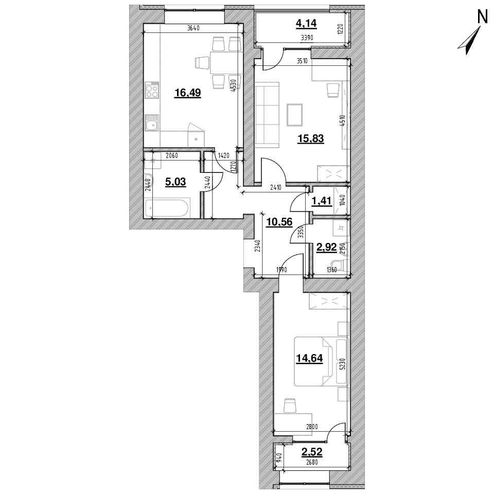 ЖК Шенген: планування 2-кімнатної квартири, №36, 73.54 м<sup>2</sup>