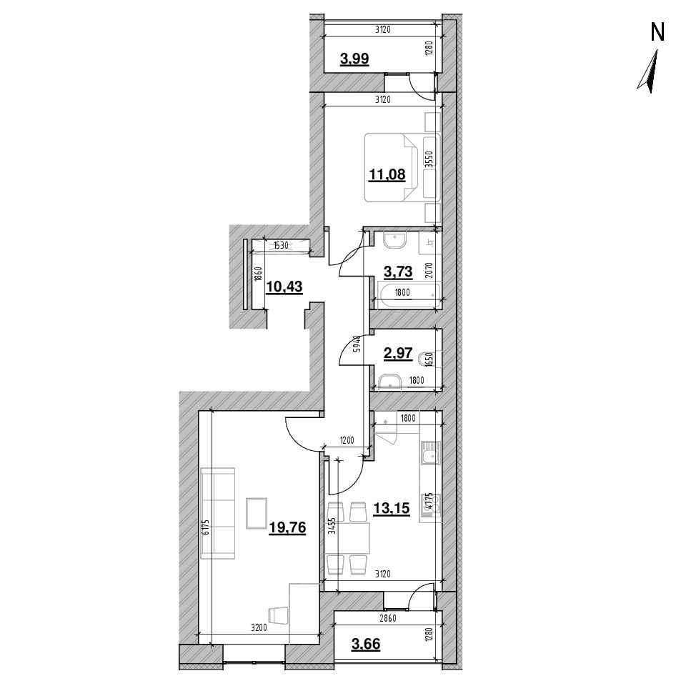 ЖК Шенген: планування 2-кімнатної квартири, №1, 68.93 м<sup>2</sup>