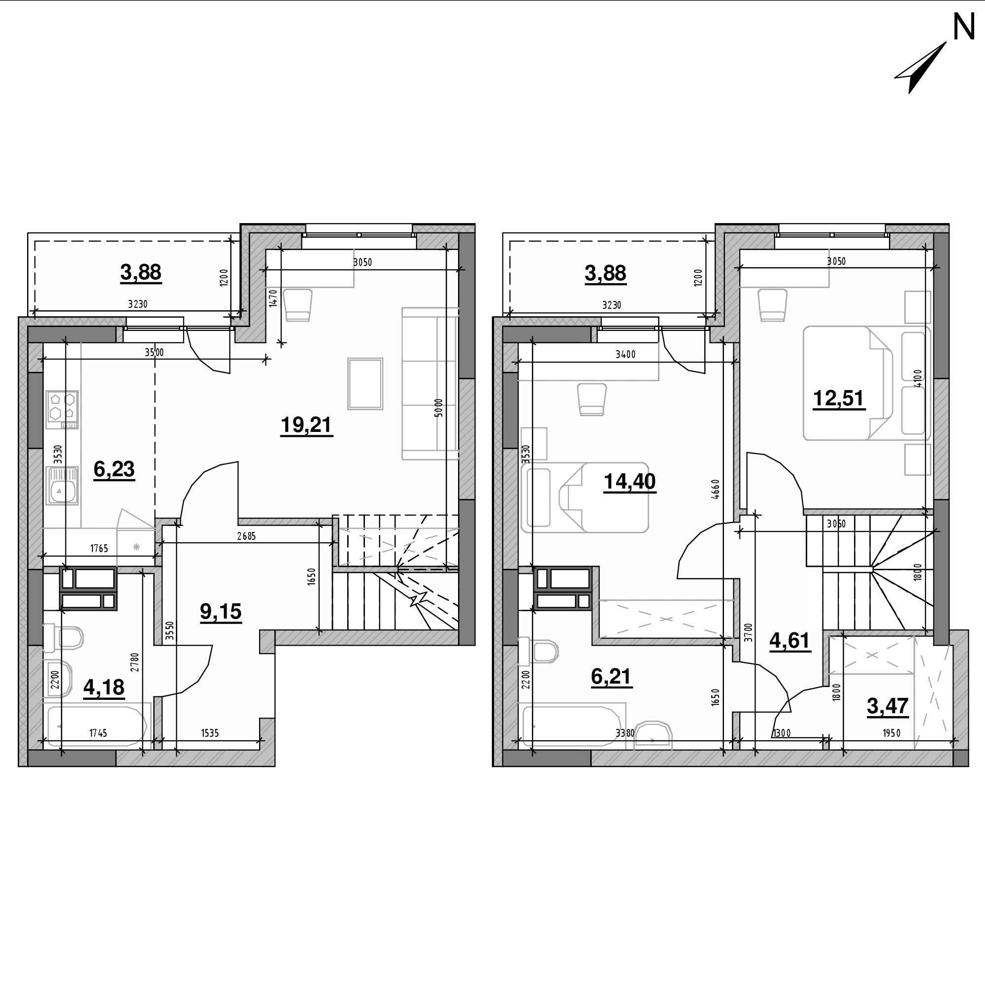 ЖК Оk'Land: планування 3-кімнатної квартири, №631, 87.73 м<sup>2</sup>