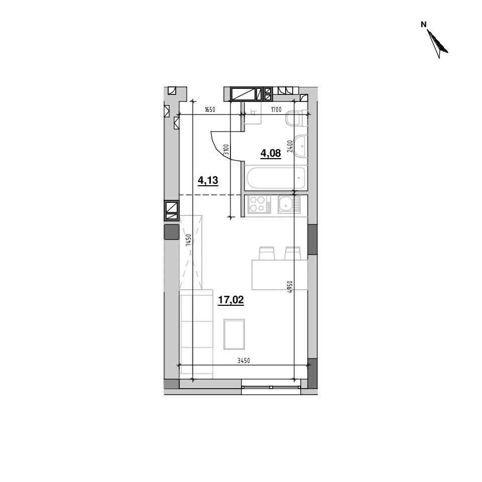 ЖК Riel City: планування 1-кімнатної квартири, №138, 25.23 м<sup>2</sup>