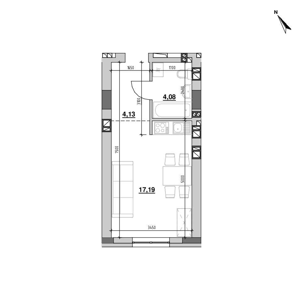 ЖК Riel City: планування 1-кімнатної квартири, №193, 25.39 м<sup>2</sup>