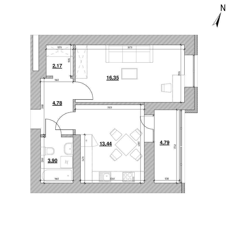 ЖК Шенген: планування 1-кімнатної квартири, №21, 45.43 м<sup>2</sup>