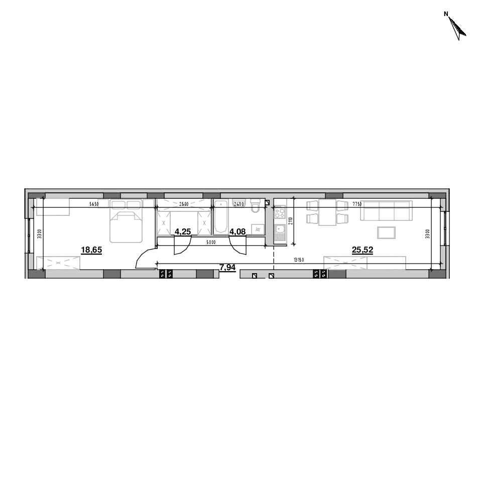 ЖК Riel City: планування 1-кімнатної квартири, №164, 57.45 м<sup>2</sup>