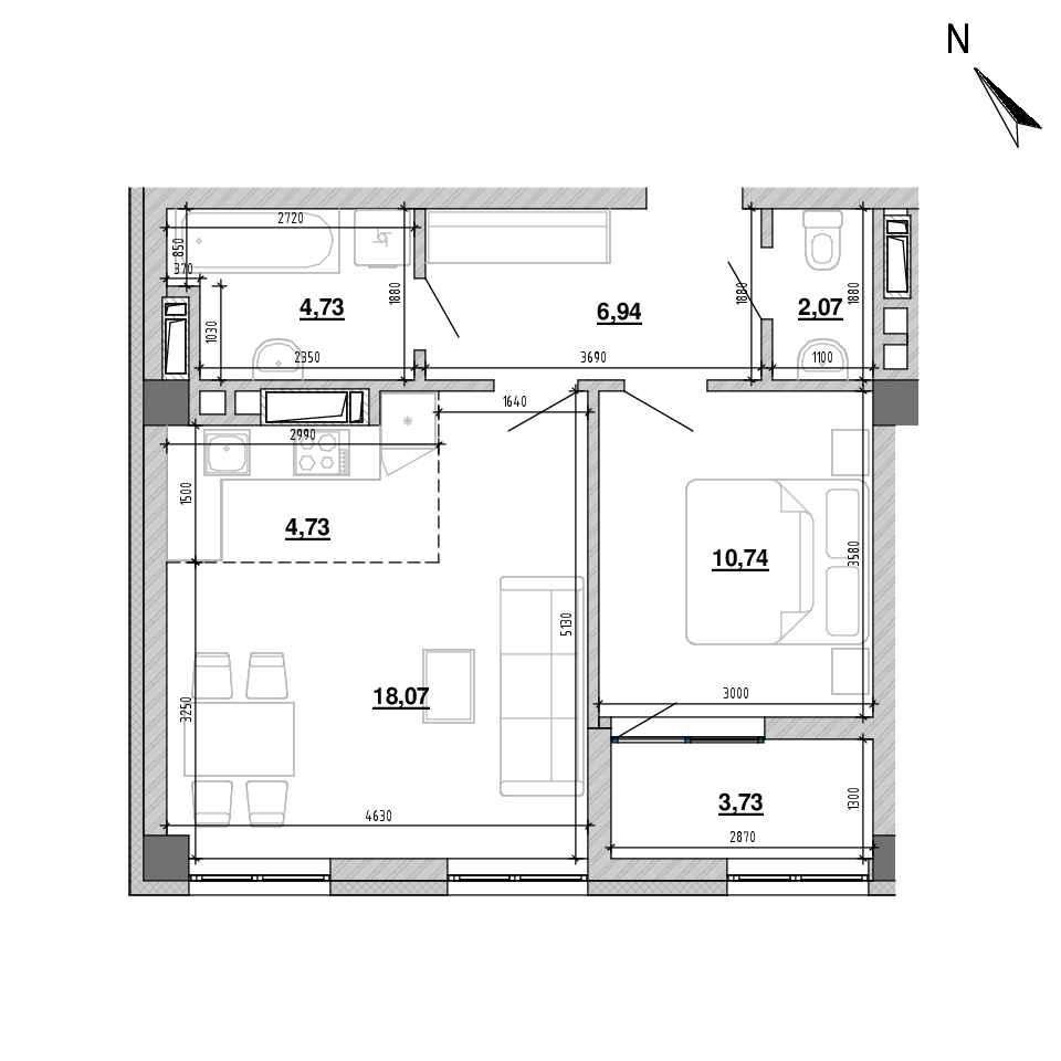 ЖК Підзамче. Вежа: планування 2-кімнатної квартири, №14, 50.86 м<sup>2</sup>