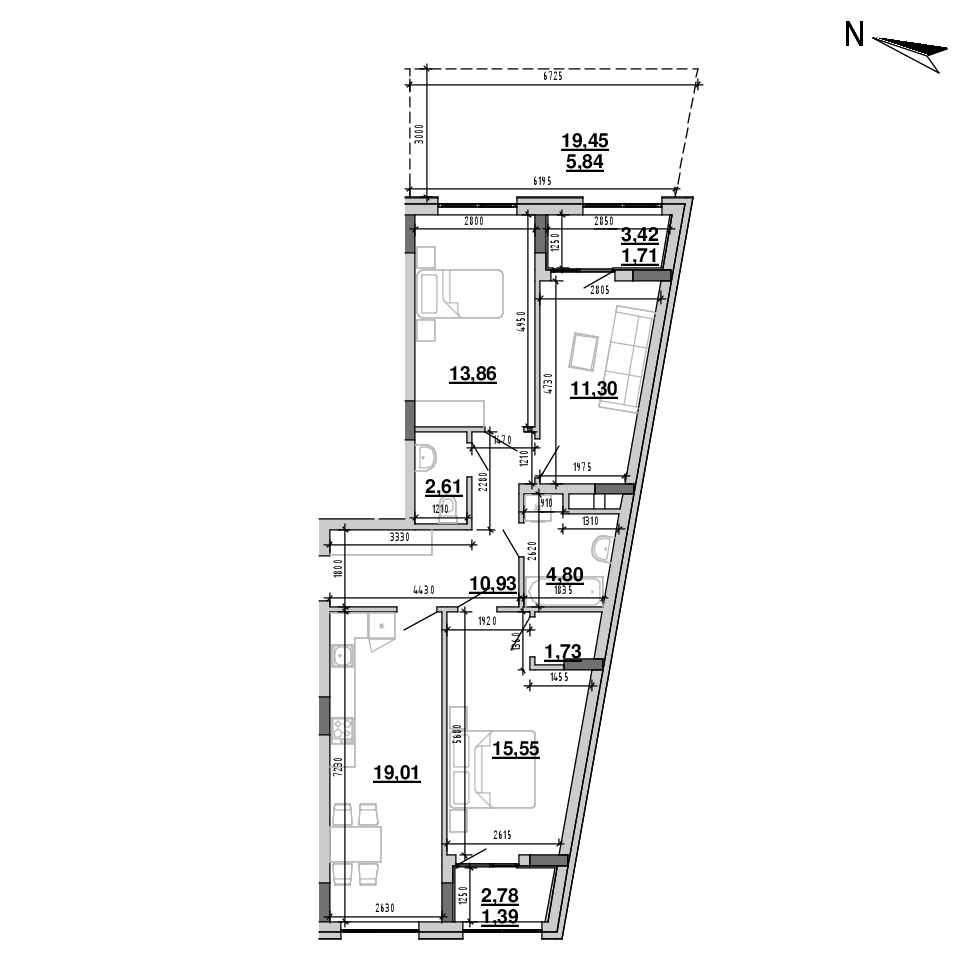 ЖК Підзамче. Брама: планування 3-кімнатної квартири, №2, 88.73 м<sup>2</sup>