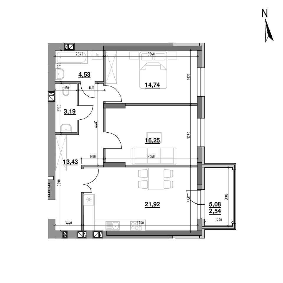 ЖК Riel City: планування 2-кімнатної квартири, №84, 76.6 м<sup>2</sup>