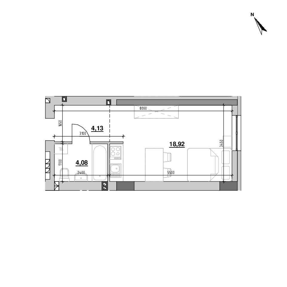 ЖК Riel City: планування 1-кімнатної квартири, №9, 27.11 м<sup>2</sup>