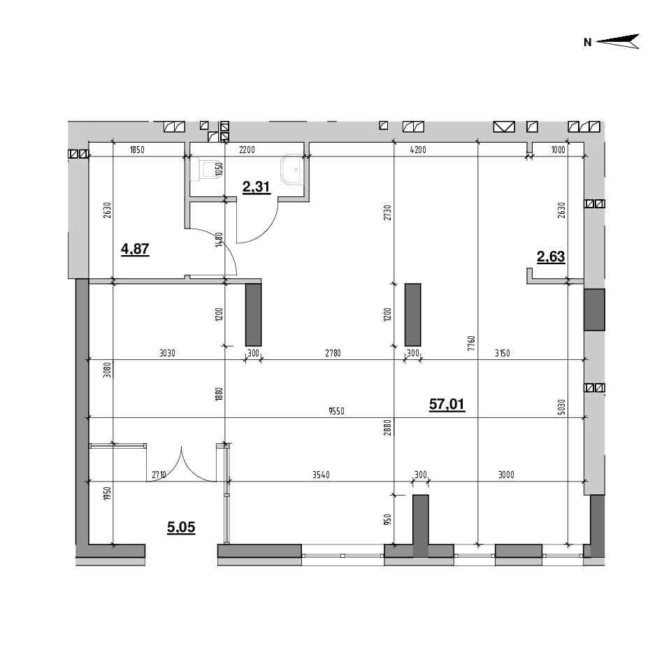 ЖК Riel City: планування приміщення площею 71.87 м<sup>2</sup>