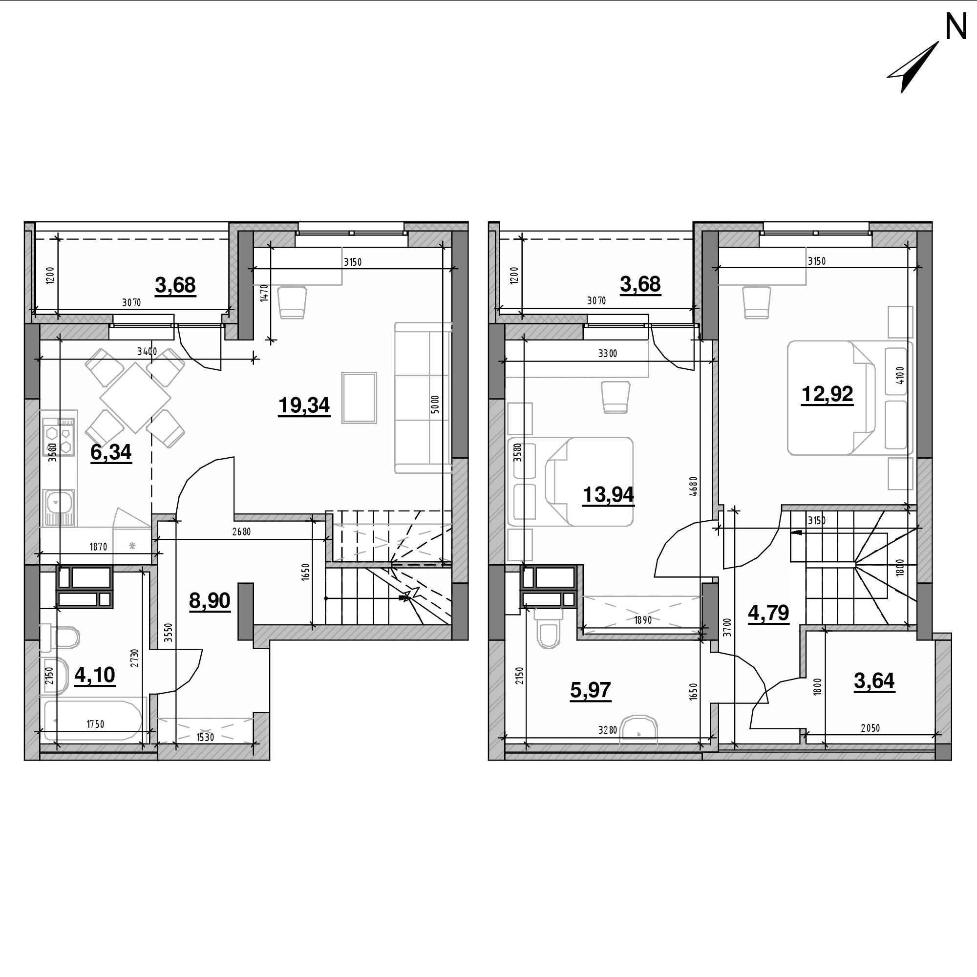ЖК Оk'Land: планування 3-кімнатної квартири, №457, 87.3 м<sup>2</sup>