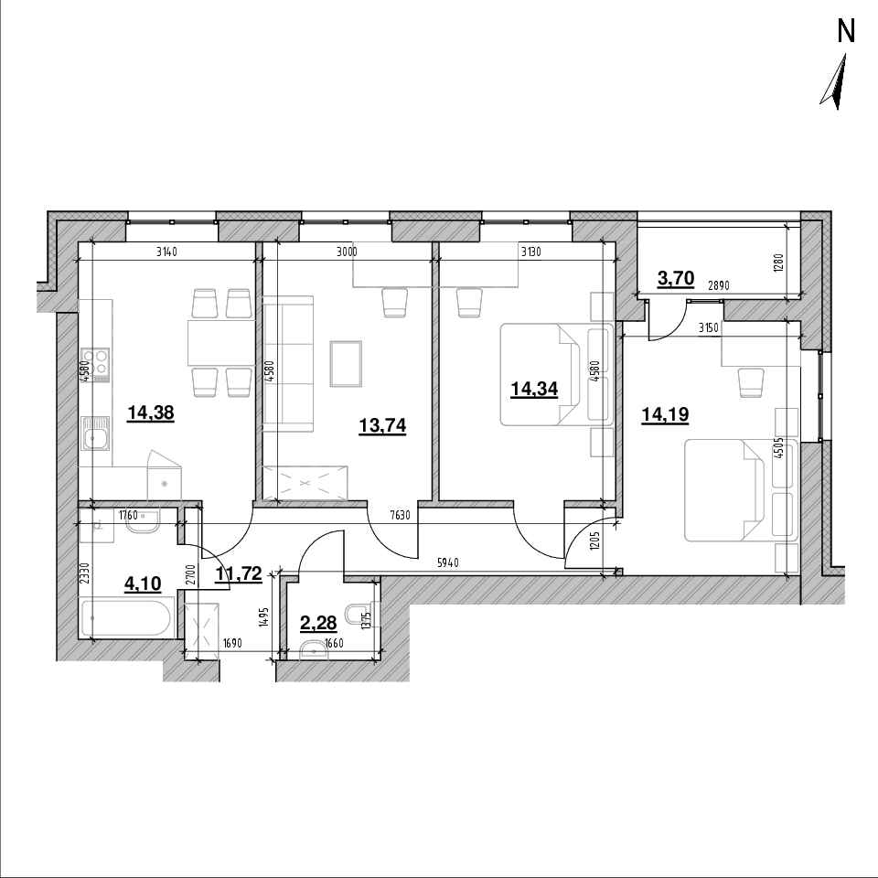 ЖК Шенген: планування 3-кімнатної квартири, №43, 77.36 м<sup>2</sup>