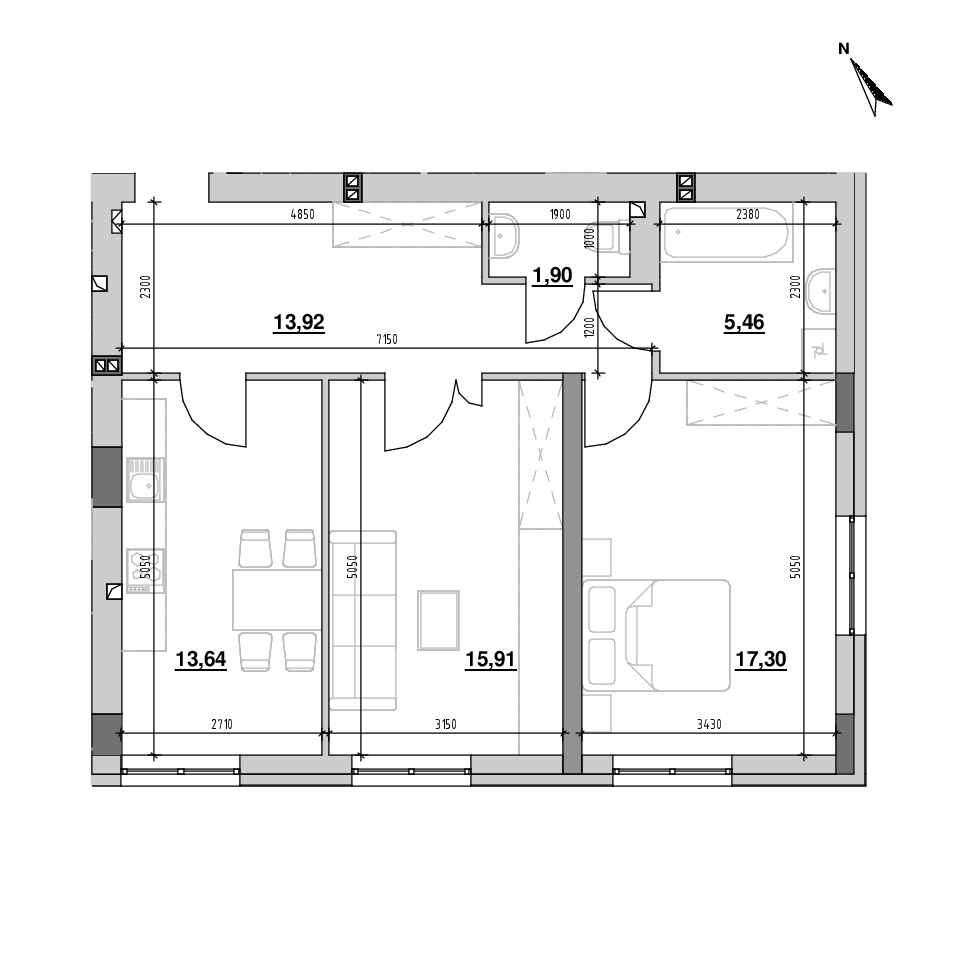 ЖК Riel City: планування 2-кімнатної квартири, №21, 68.13 м<sup>2</sup>