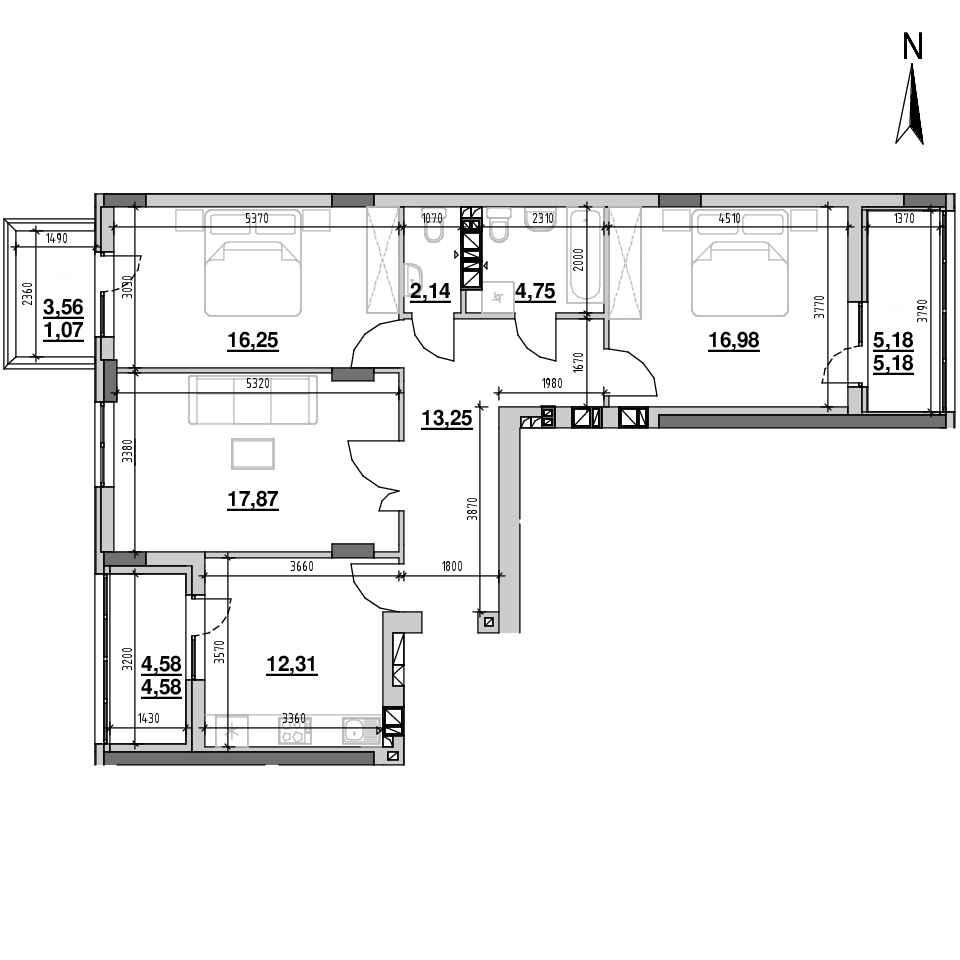 ЖК Riel City: планування 3-кімнатної квартири, №36, 94.38 м<sup>2</sup>