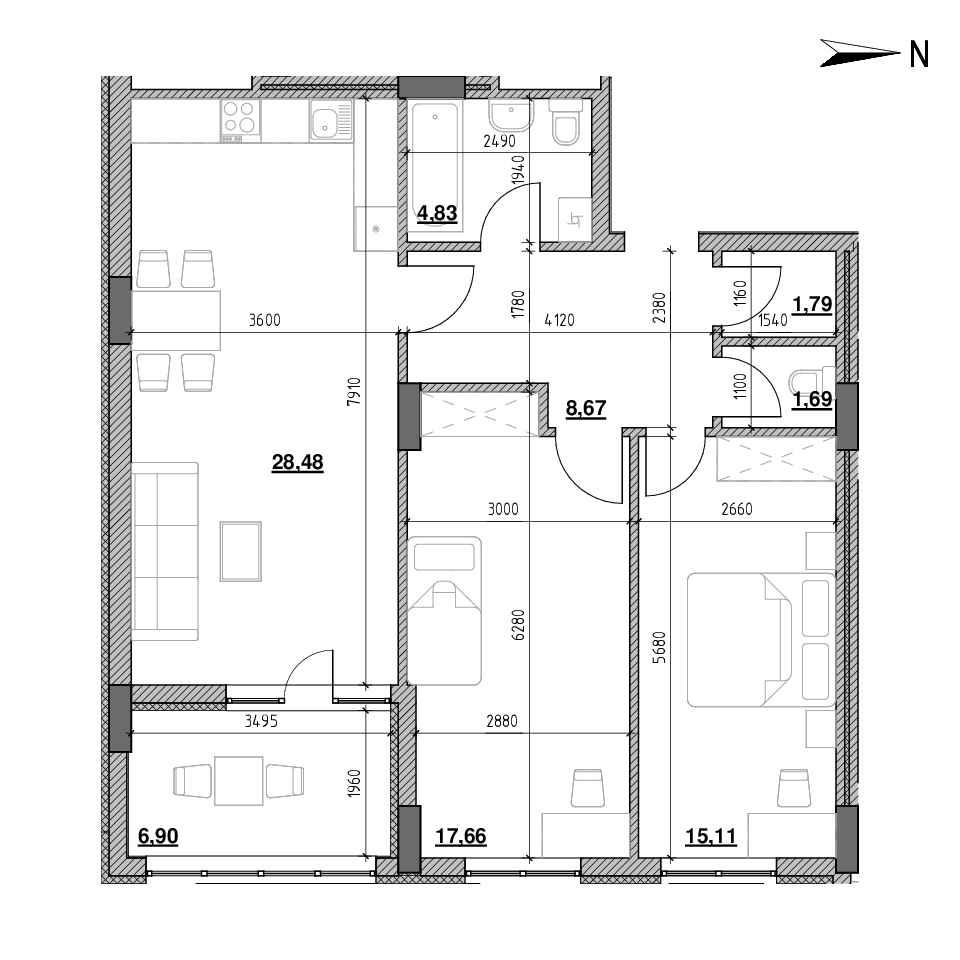 ЖК Голоські Кручі: планування 2-кімнатної квартири, №44, 85.13 м<sup>2</sup>