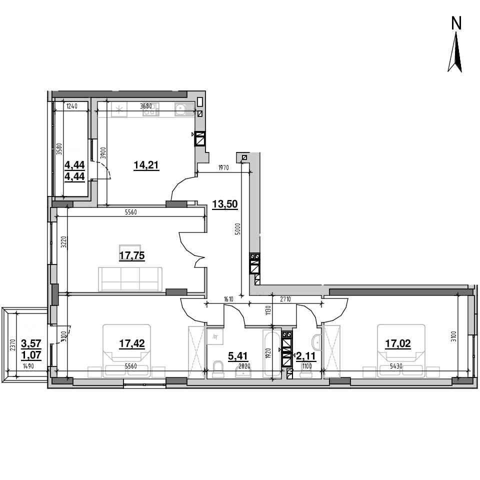 ЖК Riel City: планування 3-кімнатної квартири, №20, 92.93 м<sup>2</sup>