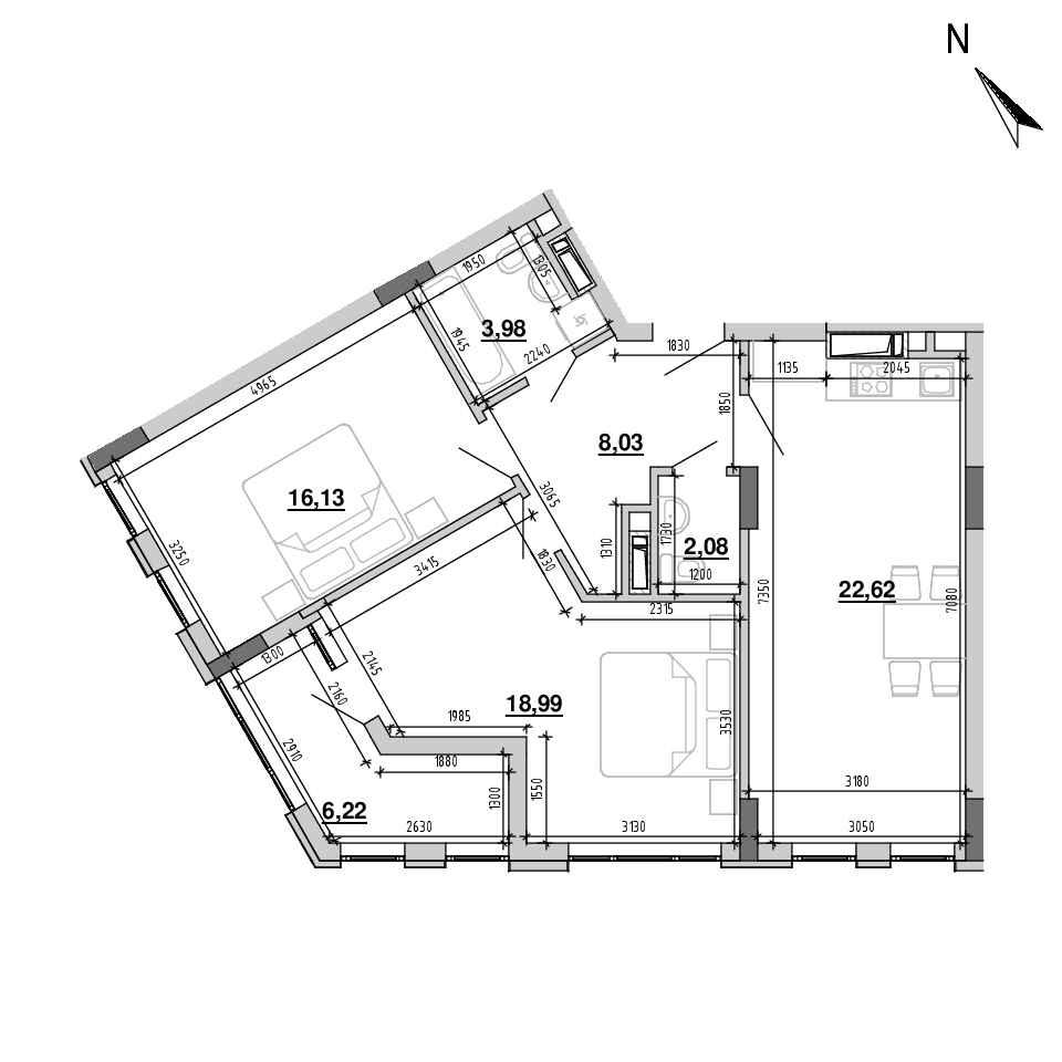 ЖК Підзамче. Вежа: планування 2-кімнатної квартири, №22, 78.05 м<sup>2</sup>