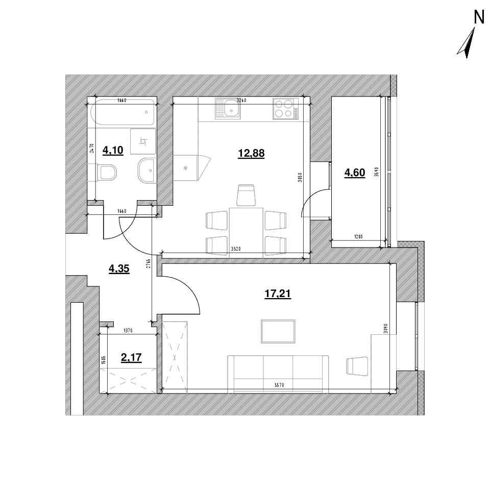 ЖК Шенген: планування 1-кімнатної квартири, №4, 45.31 м<sup>2</sup>