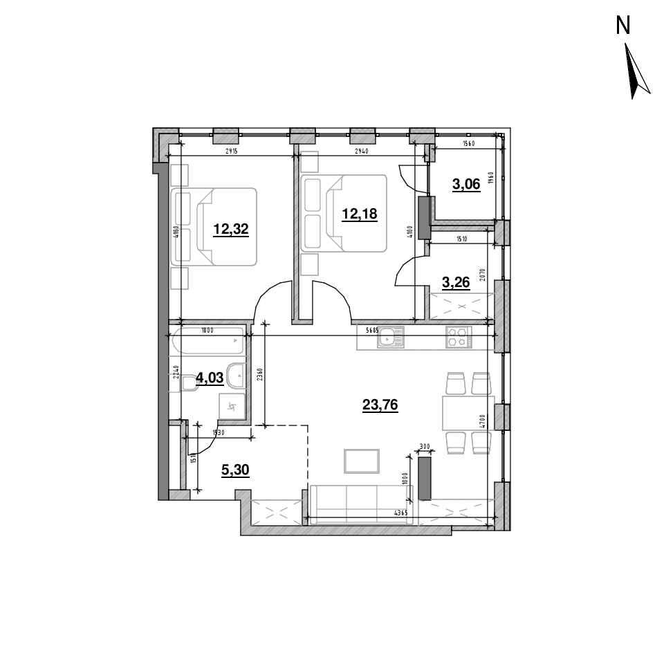ЖК Велика Британія: планування 2-кімнатної квартири, №38, 63.91 м<sup>2</sup>