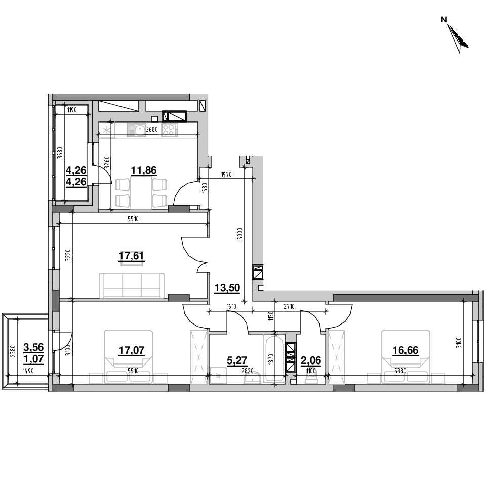 ЖК Riel City: планування 3-кімнатної квартири, №40, 89.36 м<sup>2</sup>