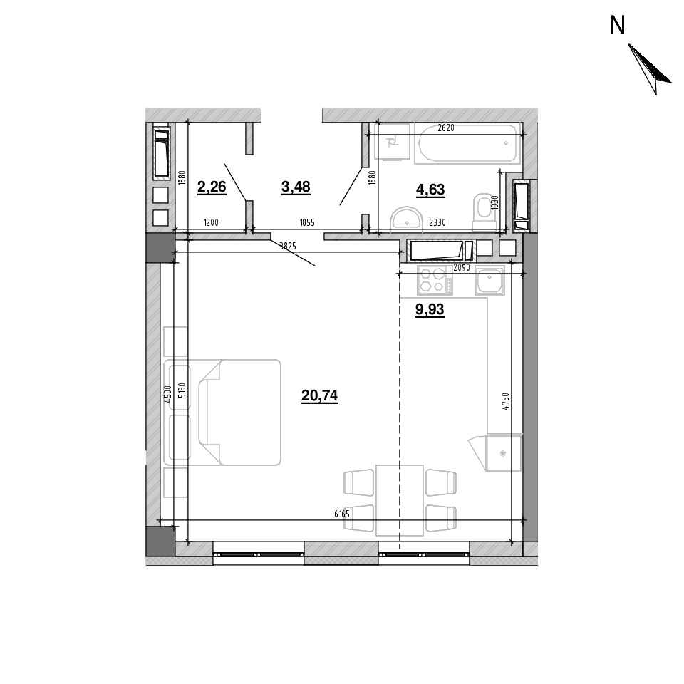 ЖК Підзамче. Вежа: планування 1-кімнатної квартири, №1, 40.92 м<sup>2</sup>