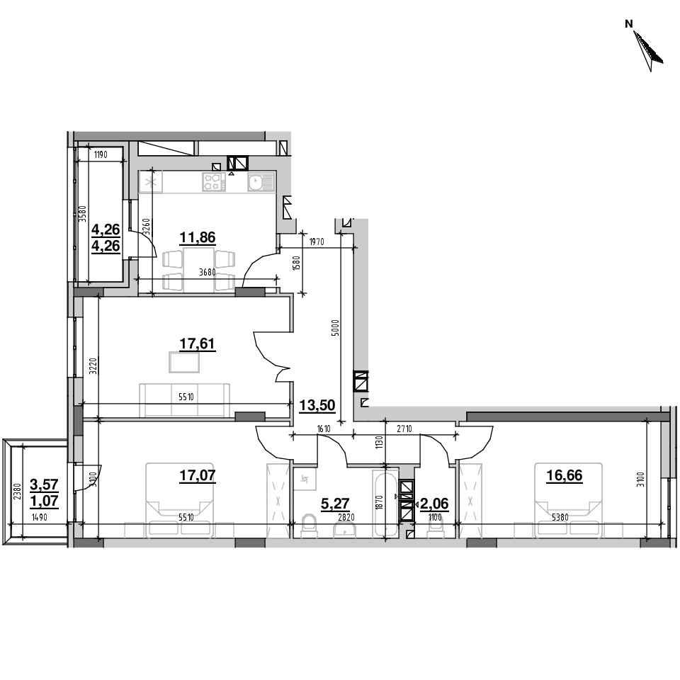 ЖК Riel City: планування 3-кімнатної квартири, №20, 89.36 м<sup>2</sup>