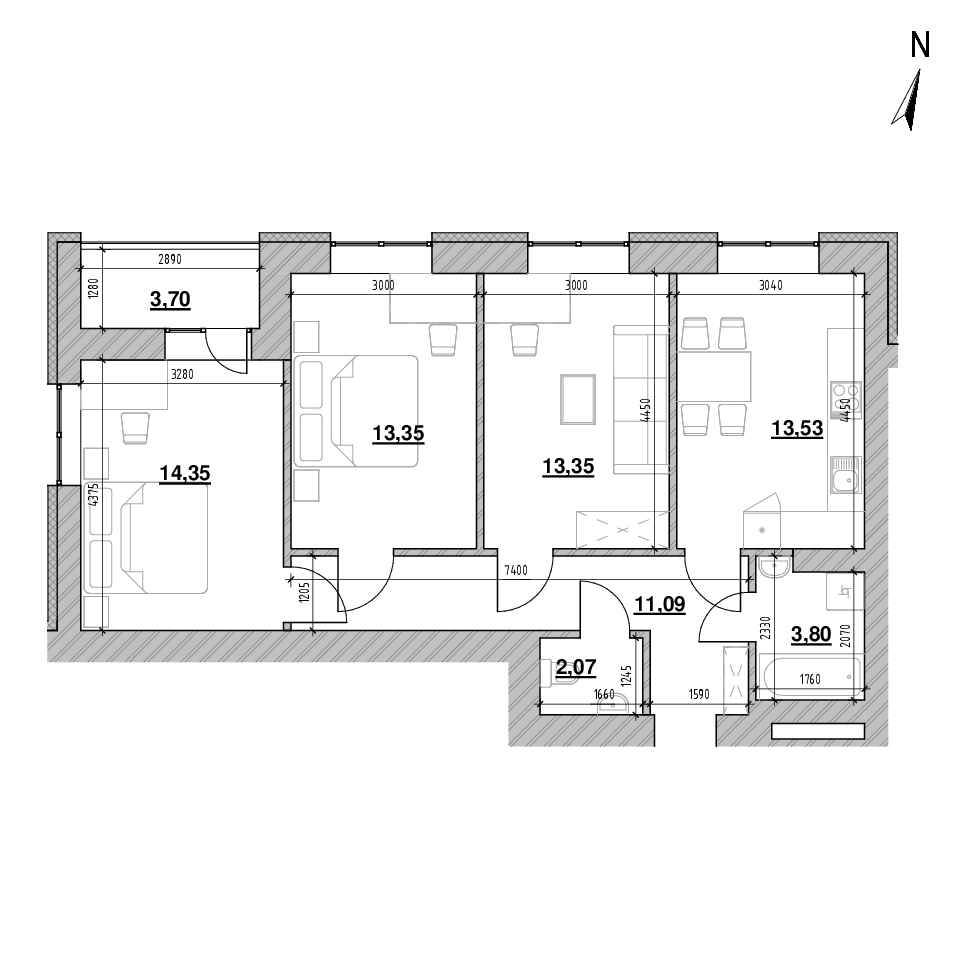 ЖК Шенген: планування 3-кімнатної квартири, №5, 77.55 м<sup>2</sup>