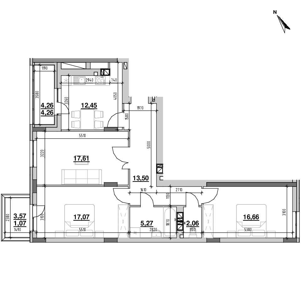 ЖК Riel City: планування 3-кімнатної квартири, №30, 89.95 м<sup>2</sup>