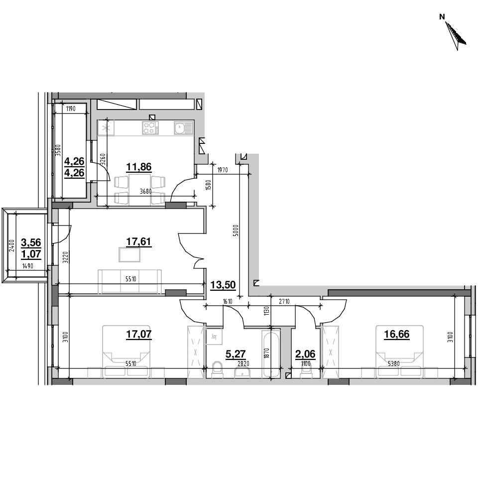 ЖК Riel City: планування 3-кімнатної квартири, №5, 89.36 м<sup>2</sup>