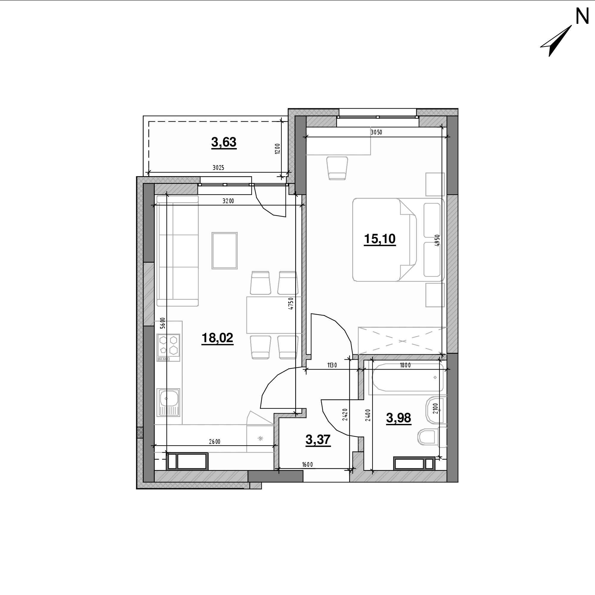 ЖК Оk'Land: планування 1-кімнатної квартири, №464, 44.1 м<sup>2</sup>