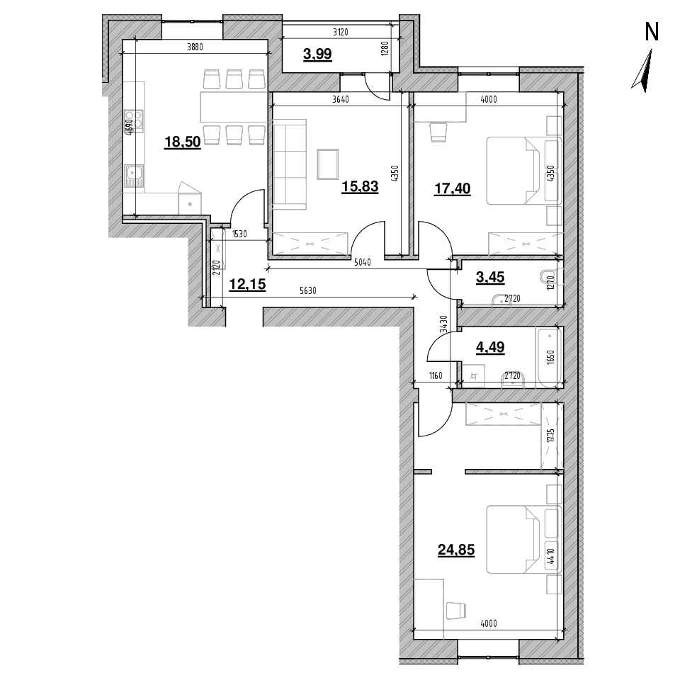 ЖК Шенген: планування 3-кімнатної квартири, №36, 101.01 м<sup>2</sup>
