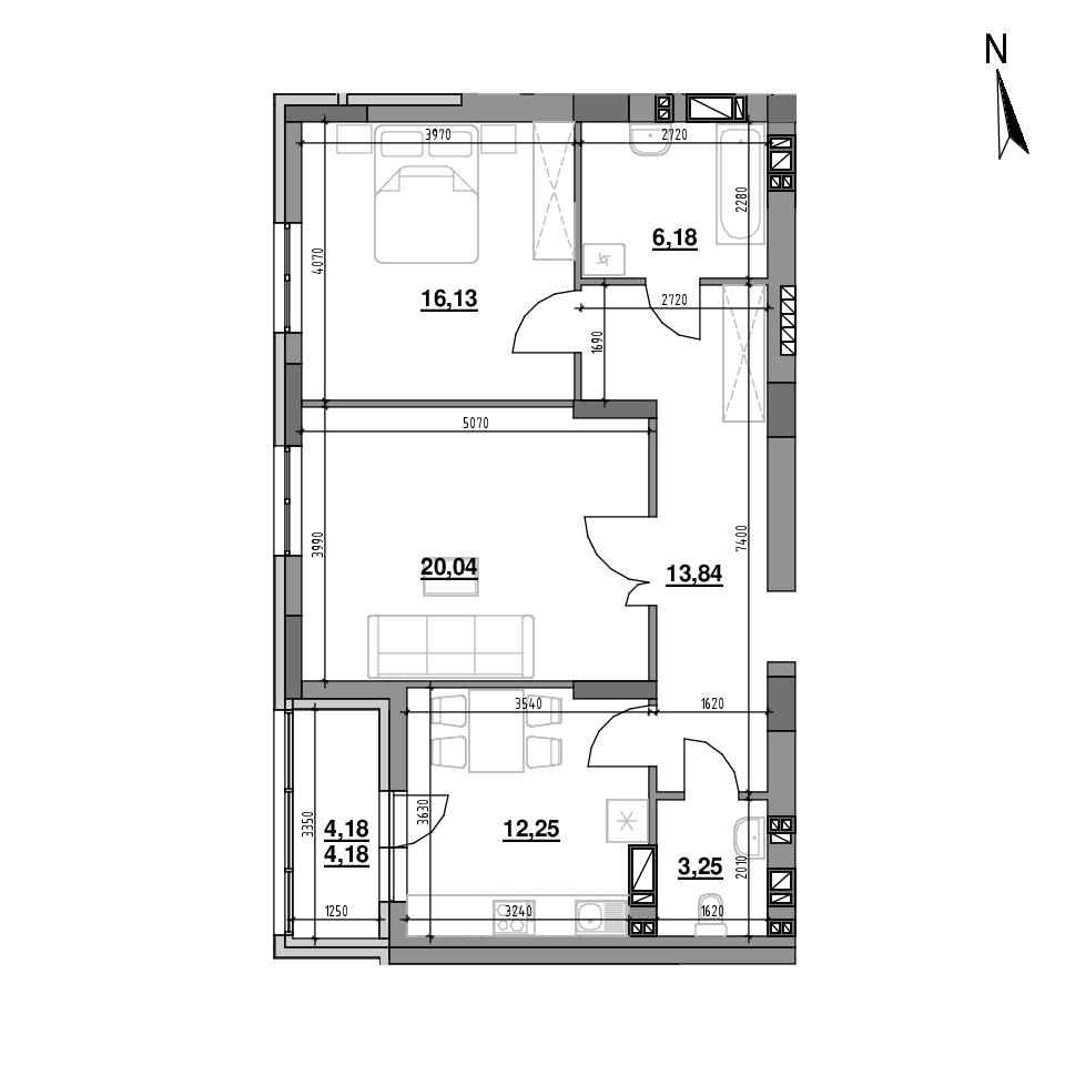 ЖК Riel City: планування 2-кімнатної квартири, №89, 75.87 м<sup>2</sup>