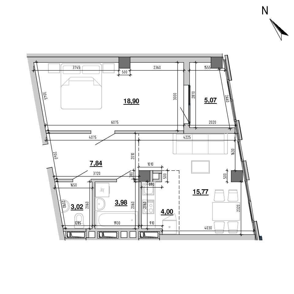ЖК Підзамче. Вежа: планування 2-кімнатної квартири, №11, 58.58 м<sup>2</sup>