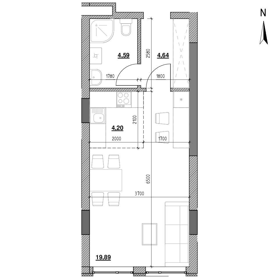 ЖК Голоські Кручі: планування 1-кімнатної квартири, №51, 33.32 м<sup>2</sup>