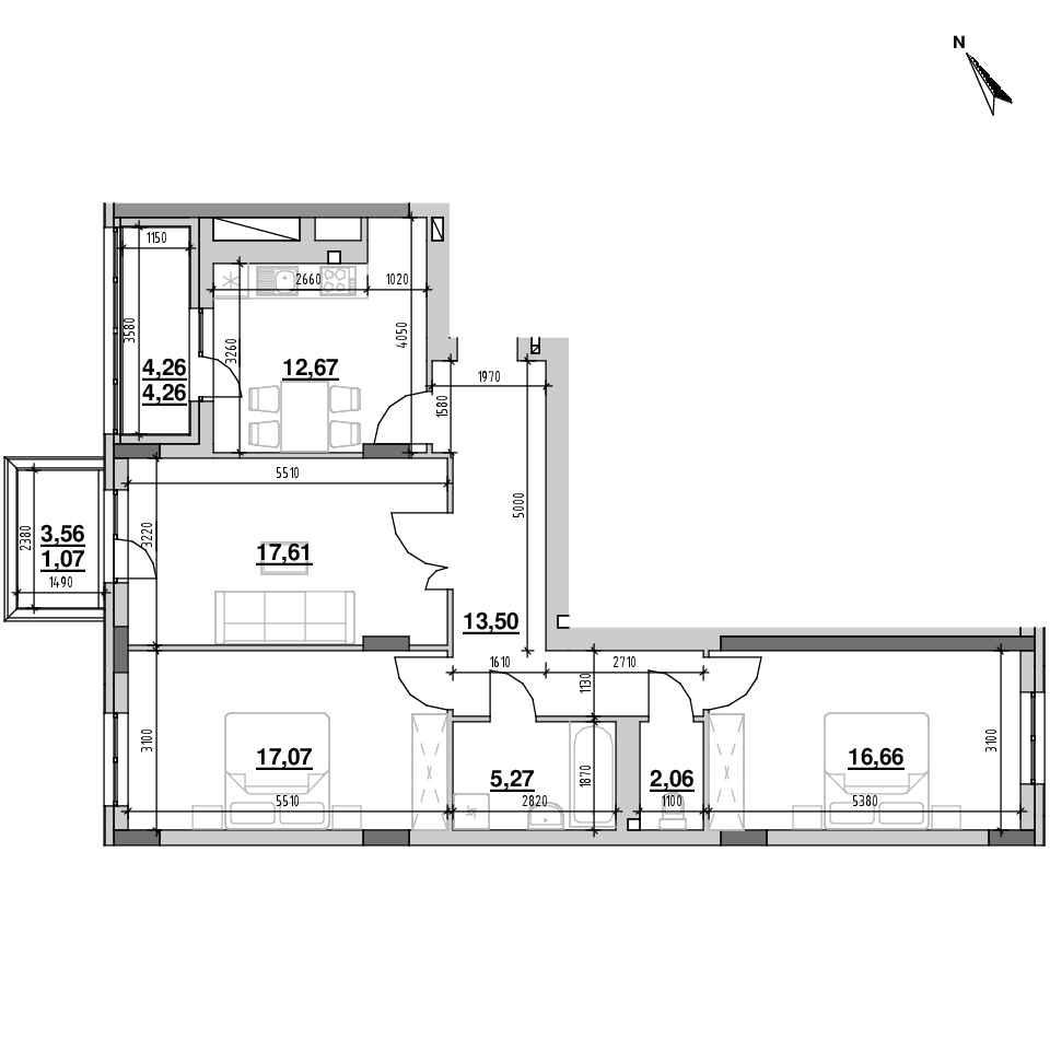 ЖК Riel City: планування 3-кімнатної квартири, №5, 90.17 м<sup>2</sup>