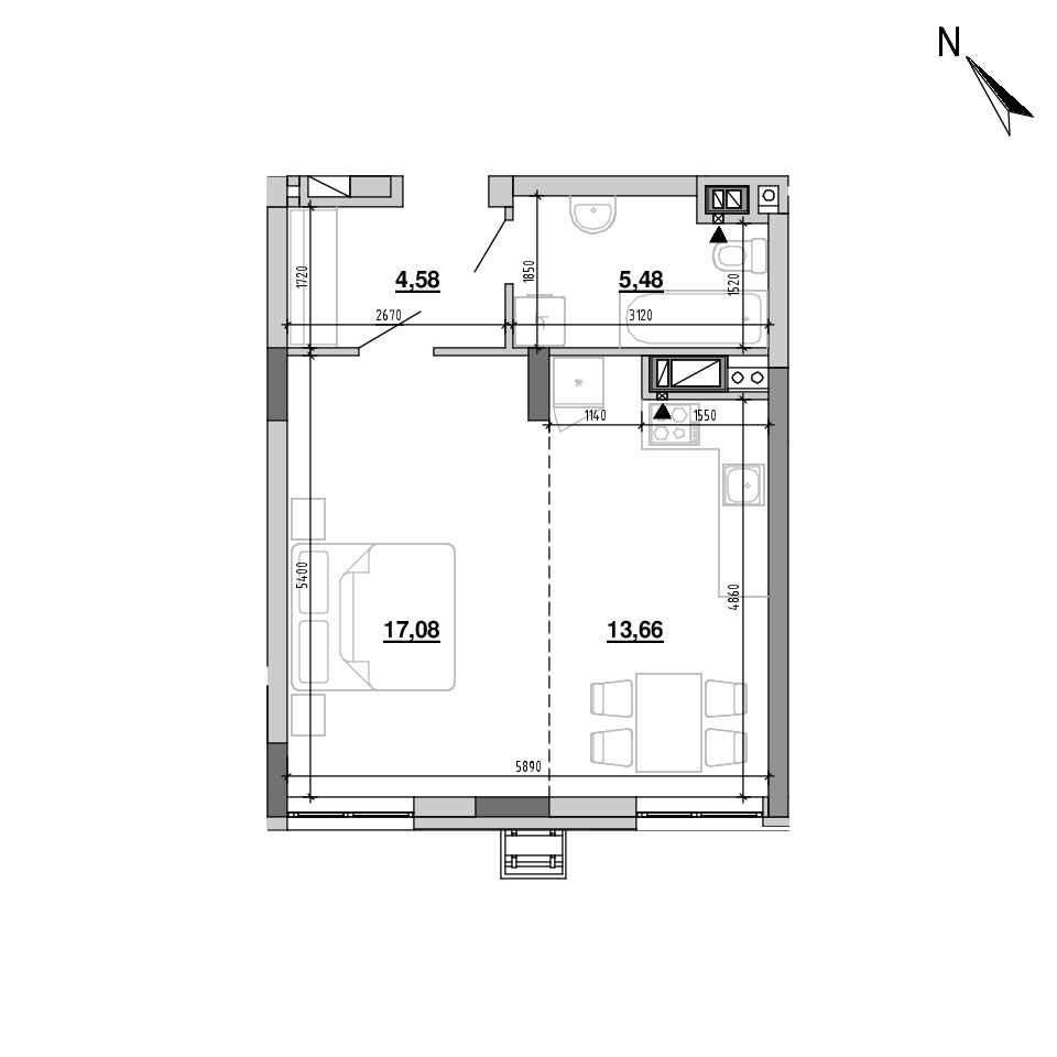 ЖК Підзамче. Вежа: планування 1-кімнатної квартири, №15, 40.8 м<sup>2</sup>