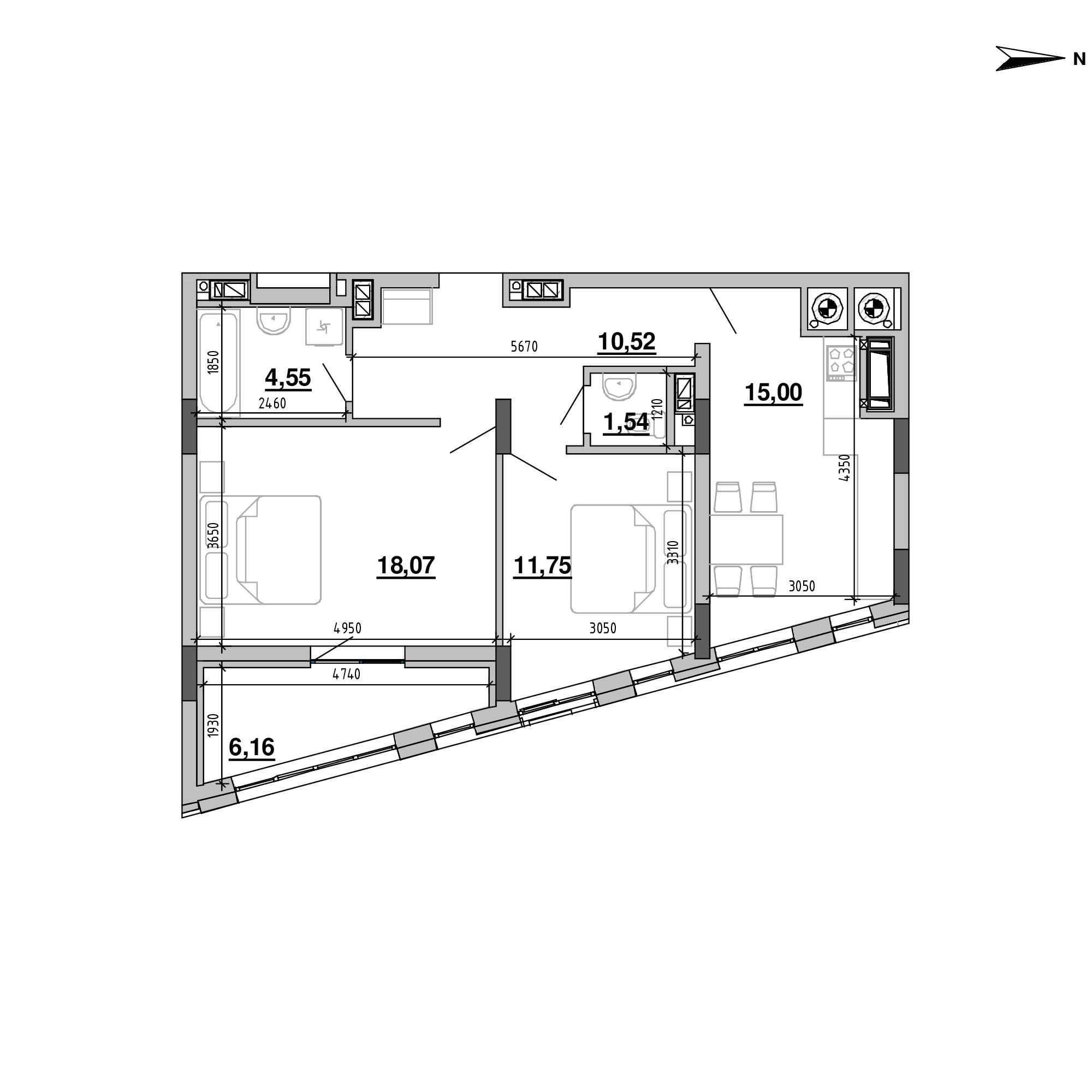ЖК Підзамче. Вежа: планування 2-кімнатної квартири, №28, 67.59 м<sup>2</sup>