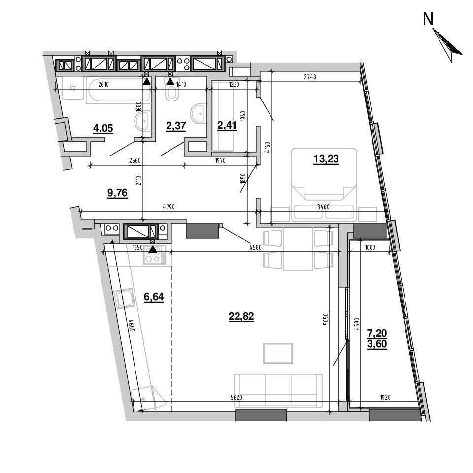 ЖК Підзамче. Вежа: планування 2-кімнатної квартири, №2, 64.88 м<sup>2</sup>