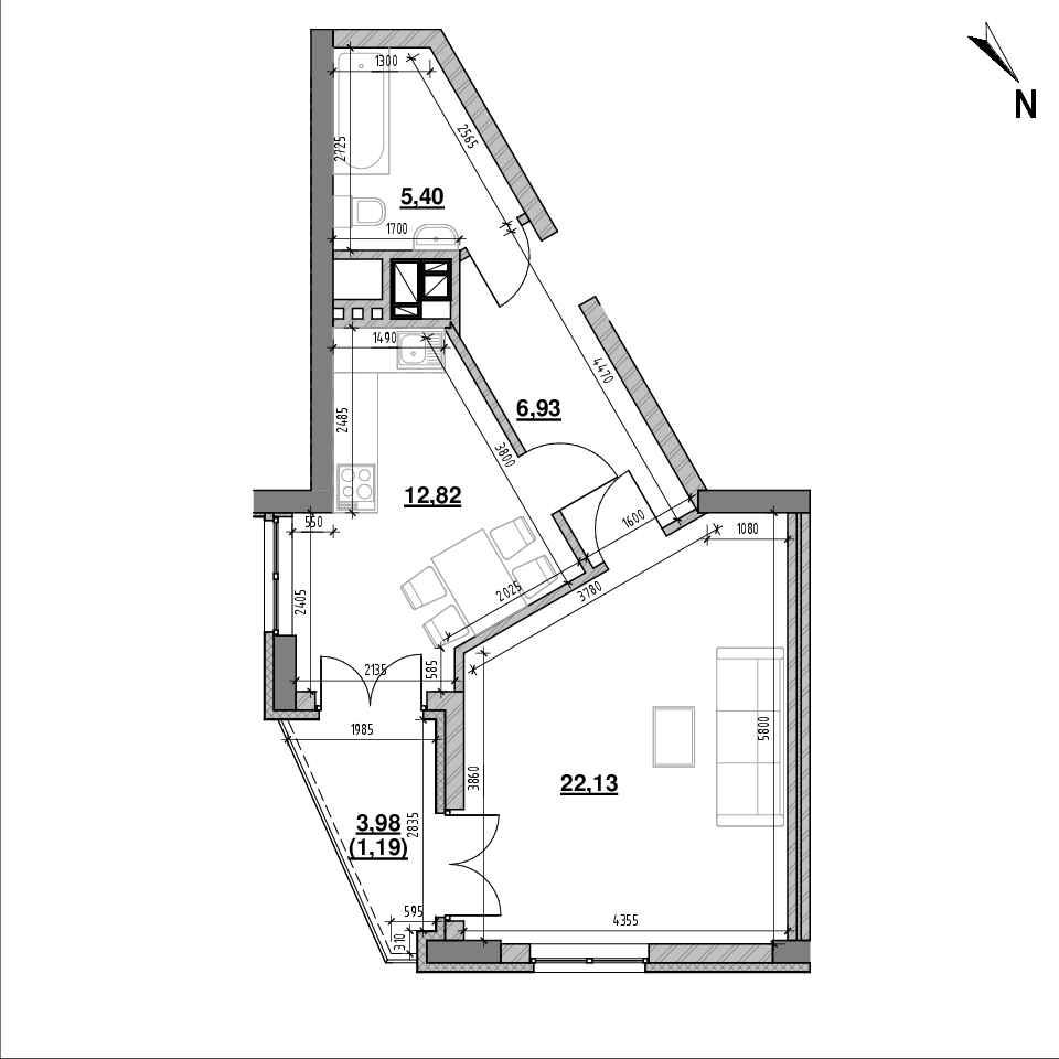 ЖК Ярославенка: планування 1-кімнатної квартири, №7, 48.47 м<sup>2</sup>