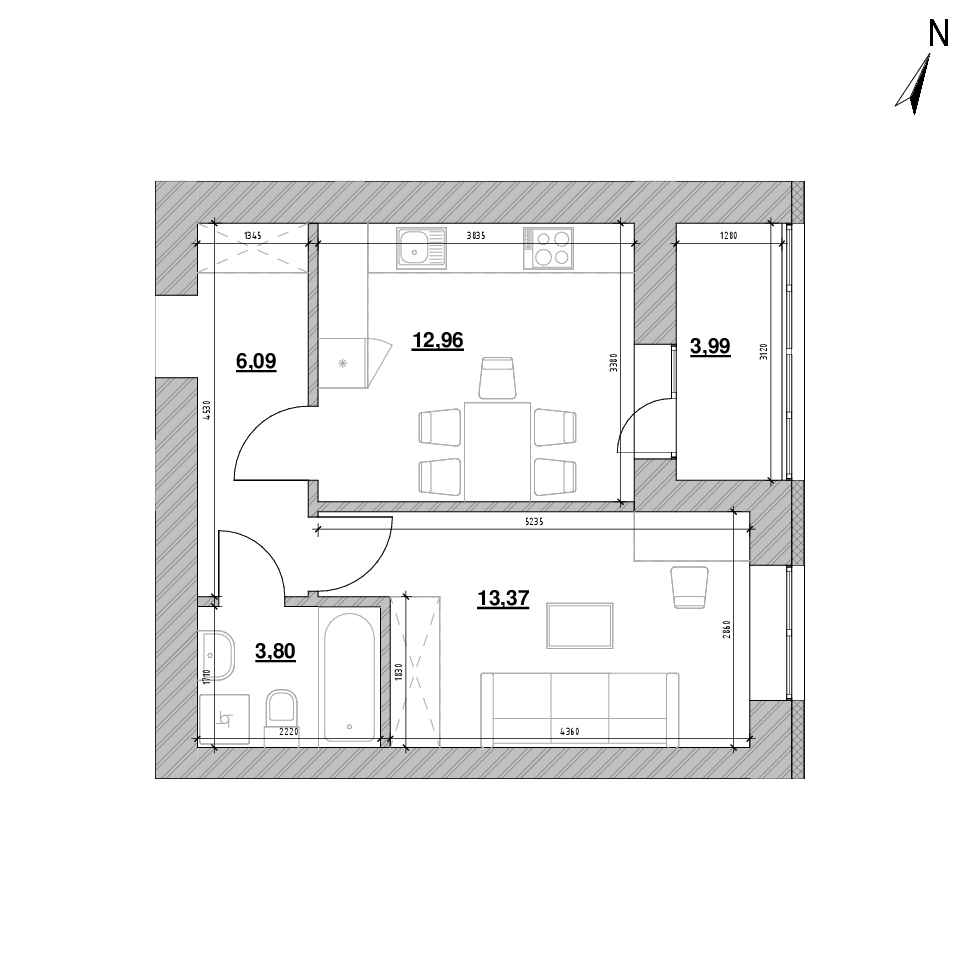ЖК Шенген: планування 1-кімнатної квартири, №6, 40.21 м<sup>2</sup>