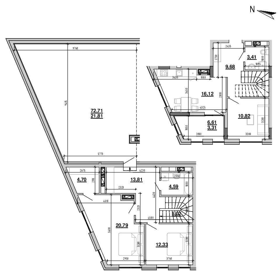 ЖК Підзамче. Брама: планування 3-кімнатної квартири, №27, 126.39 м<sup>2</sup>