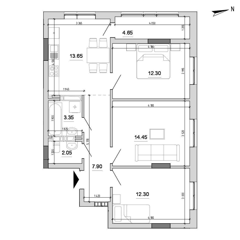 ЖК Forward: планування 3-кімнатної квартири, №158, 70.65 м<sup>2</sup>