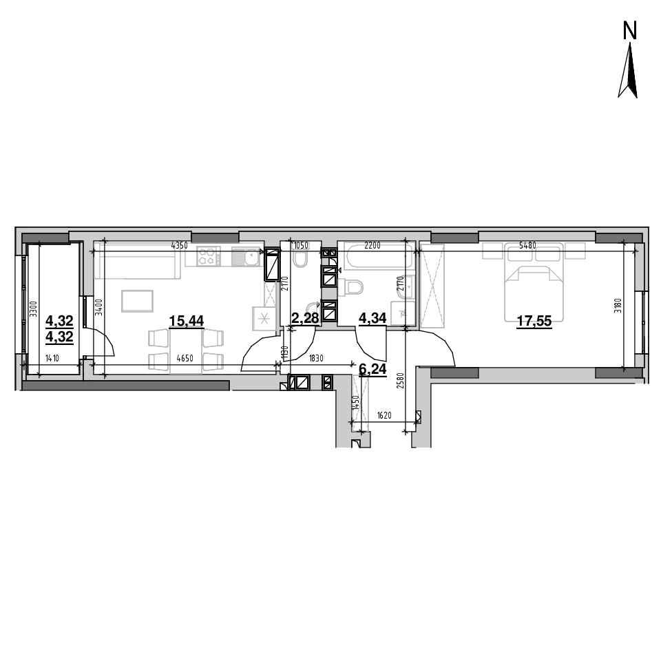 ЖК Riel City: планування 1-кімнатної квартири, №107, 50.17 м<sup>2</sup>