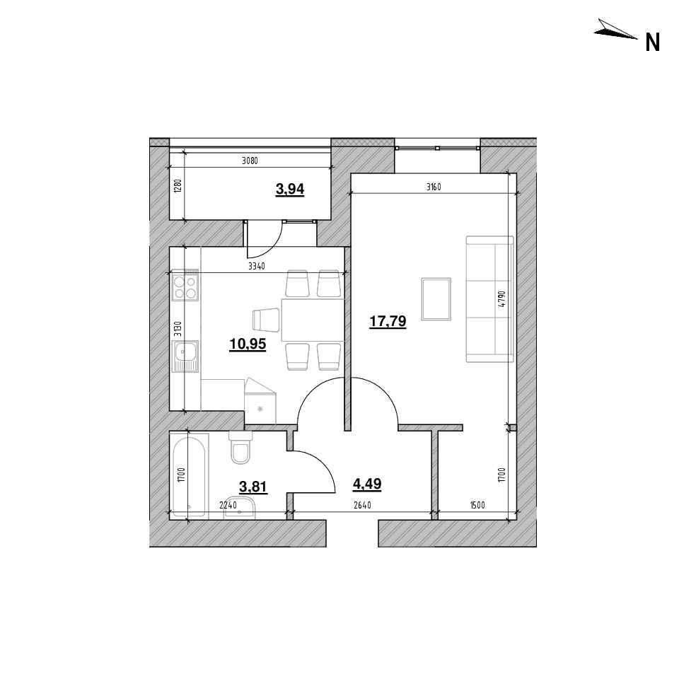 ЖК Шенген: планування 1-кімнатної квартири, №56, 41.09 м<sup>2</sup>