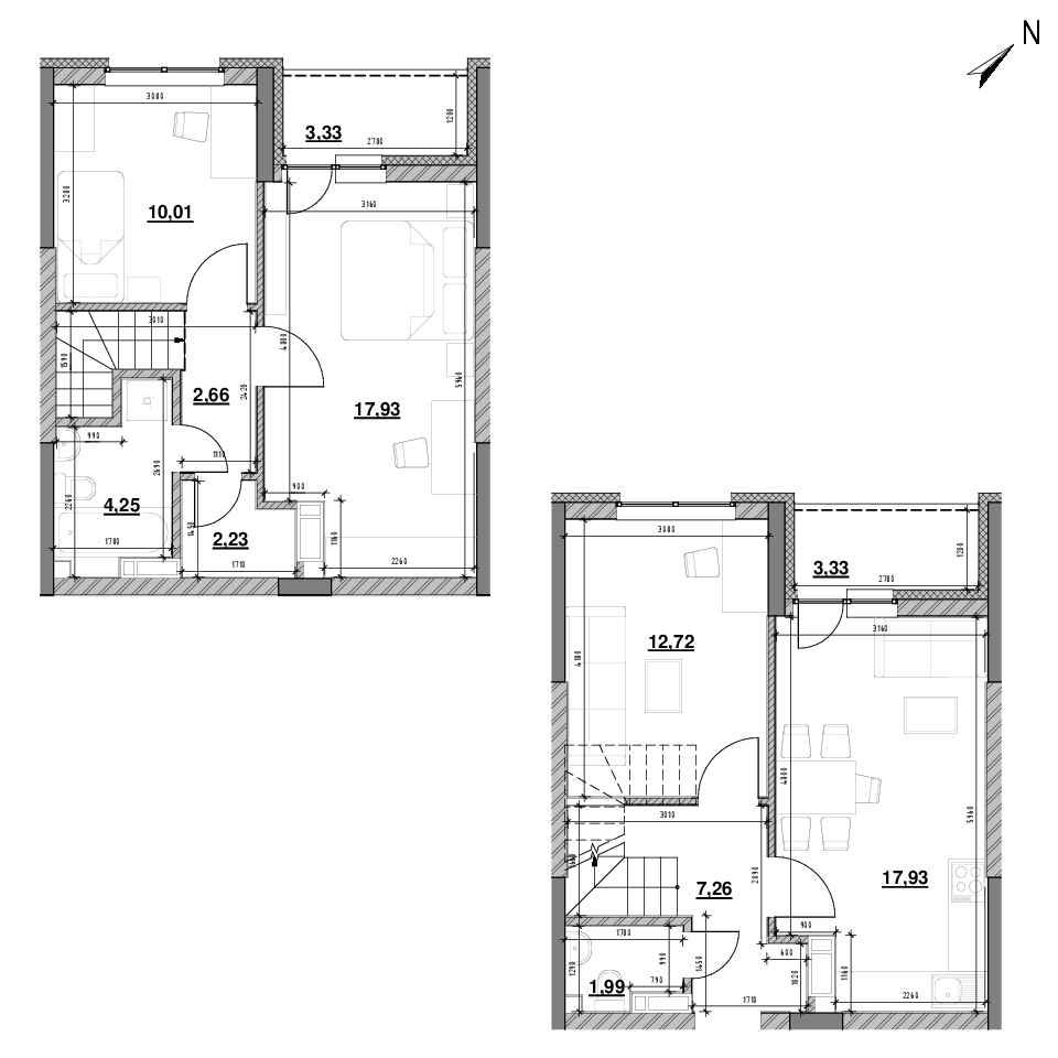 ЖК Оk'Land: планування 3-кімнатної квартири, №399, 83.64 м<sup>2</sup>