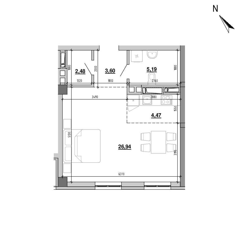 ЖК Підзамче. Вежа: планування 1-кімнатної квартири, №8, 42.68 м<sup>2</sup>