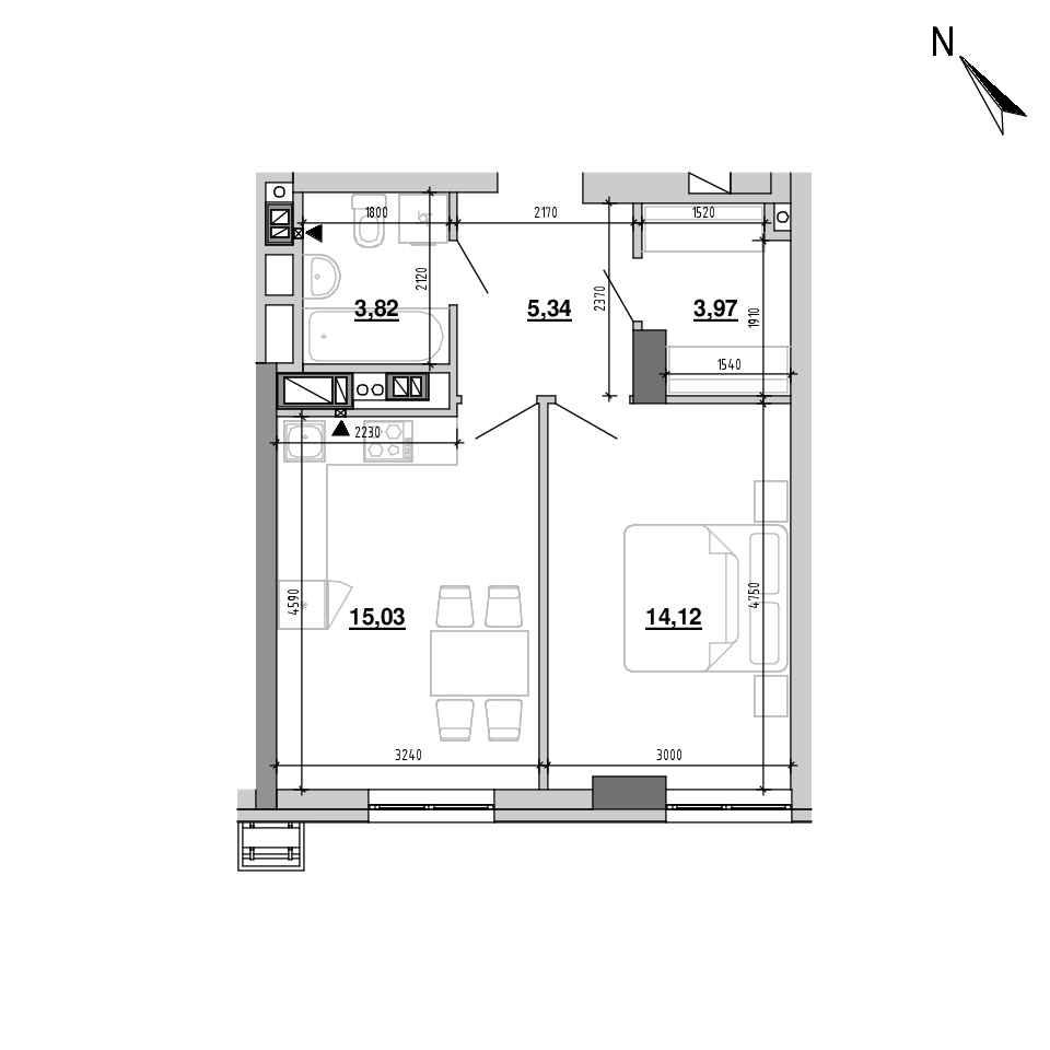 ЖК Підзамче. Вежа: планування 1-кімнатної квартири, №14, 42.28 м<sup>2</sup>