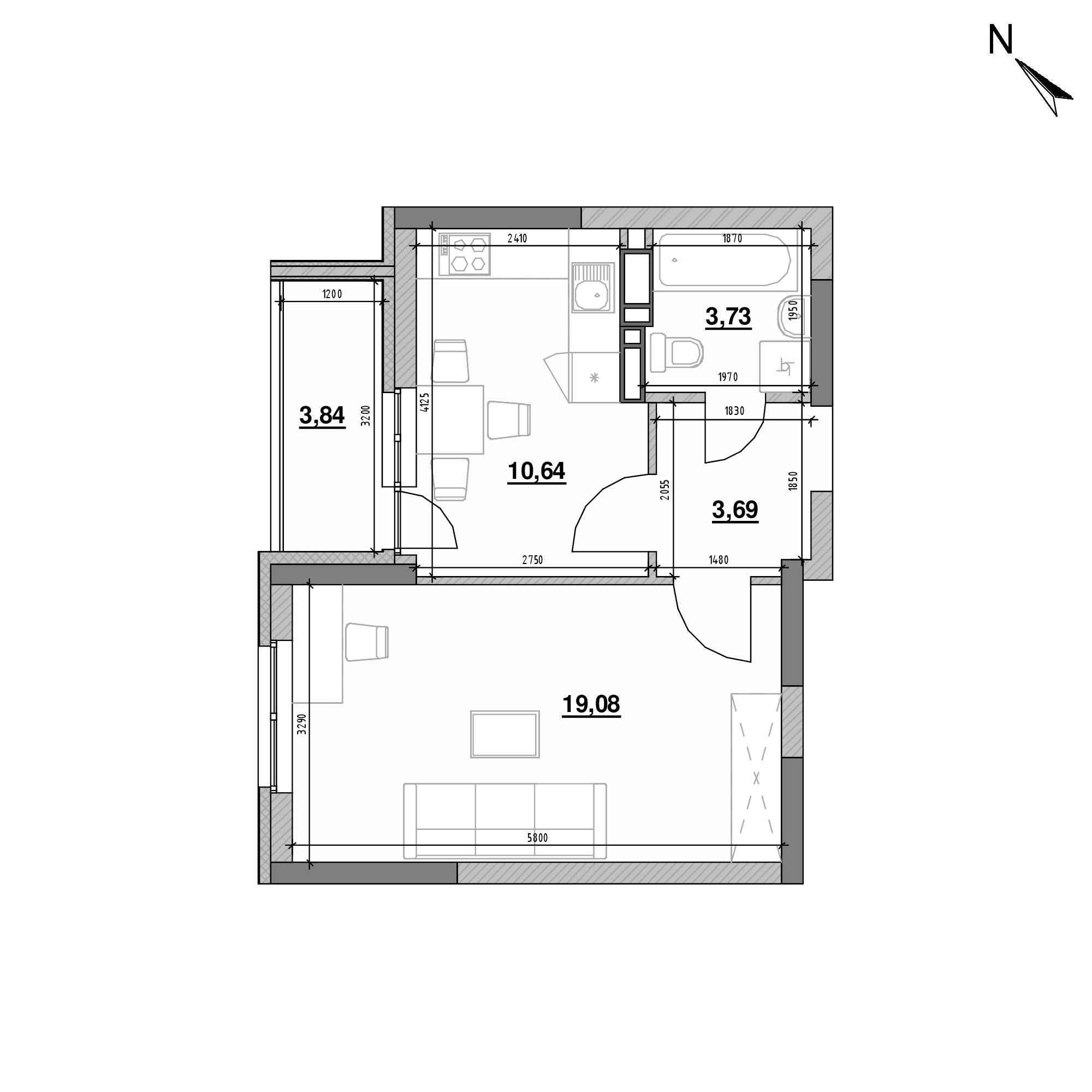 ЖК Оk'Land: планування 1-кімнатної квартири, №136, 40.98 м<sup>2</sup>