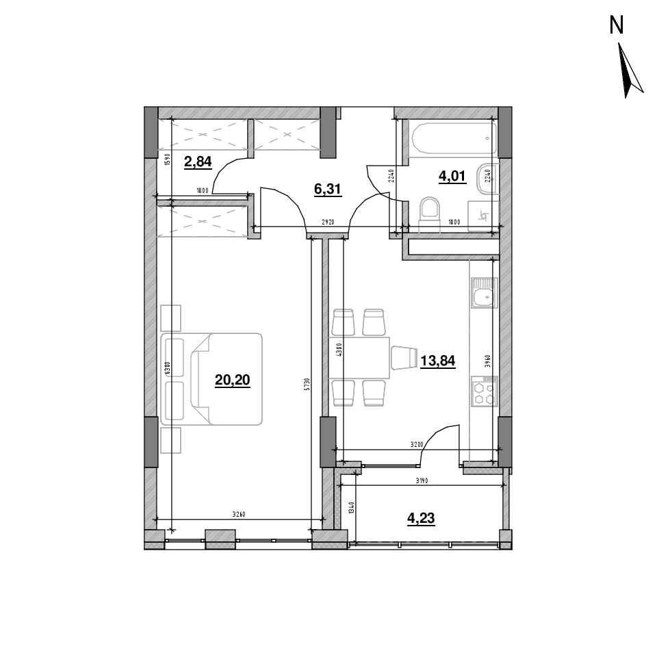 ЖК Велика Британія: планування 1-кімнатної квартири, №41, 51.43 м<sup>2</sup>