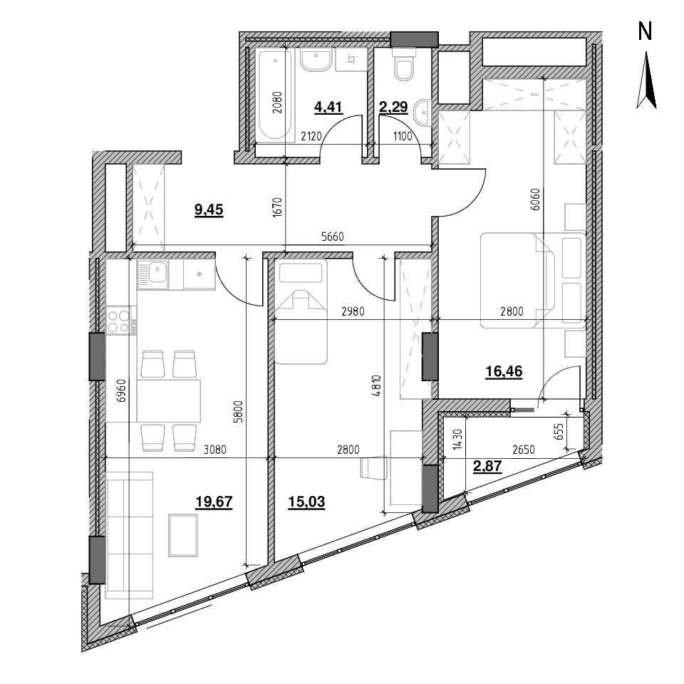 ЖК Голоські Кручі: планування 2-кімнатної квартири, №2, 70.18 м<sup>2</sup>